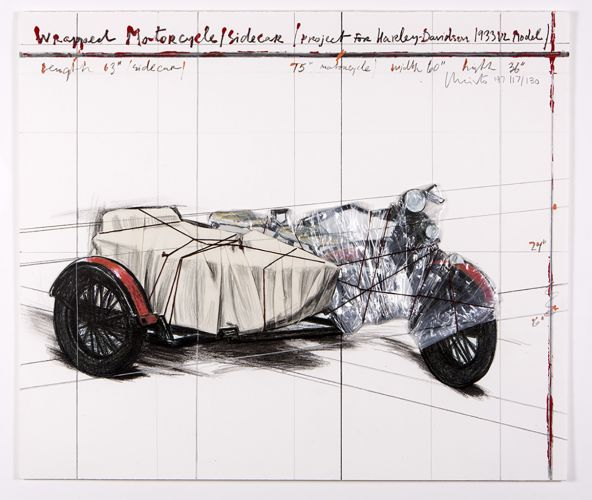 Wrapped Motorcycle/Sidecar, Project for Harley-Davidson 1933